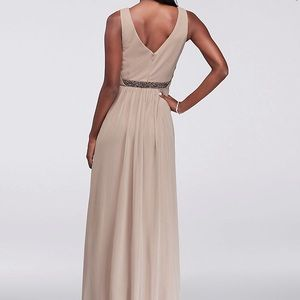 David's Bridal Dresses - Long Mesh Dress with Beaded Waistband in Graphite